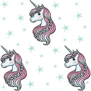 unicorn- white & teal - MEDIUM