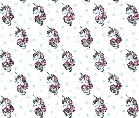 unicorn- white & teal - LARGE fabric by m&e_fashions on Spoonflower - custom fabric