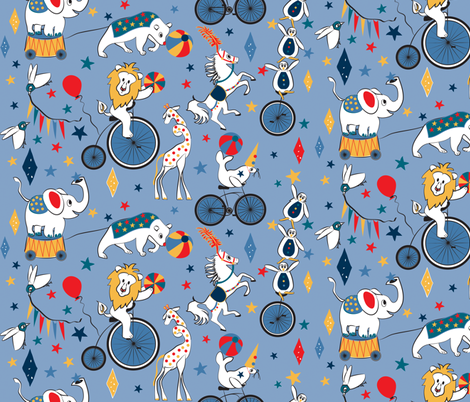 Circus Cycle Parade fabric by colour_angel_by_kv on Spoonflower - custom fabric