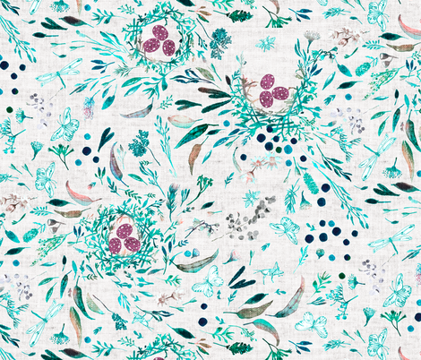 Southern Spring (silver) LRG fabric by nouveau_bohemian on Spoonflower - custom fabric