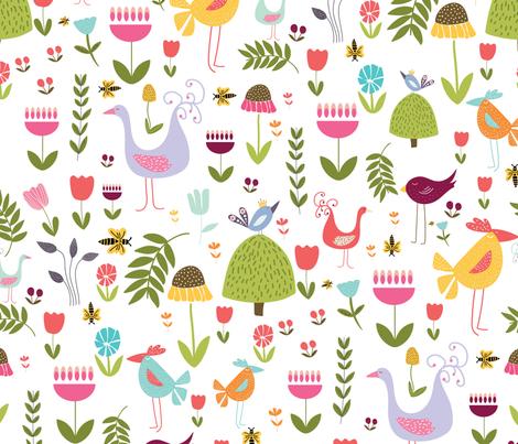 BIRD GARDEN fabric by lynnpriestleydesign on Spoonflower - custom fabric