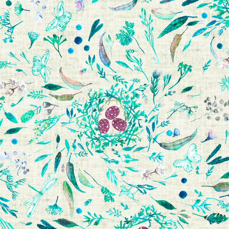 Southern Spring (wheat) MEDIUM fabric by nouveau_bohemian on Spoonflower - custom fabric