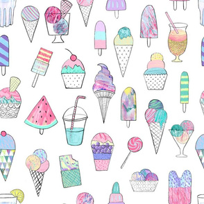 Icecream, popsicles, smoothies and more on a light summer print