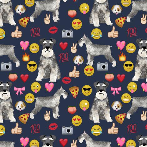 schnauzer emoji dog breed fabric emojis dark fabric by petfriendly on Spoonflower - custom fabric
