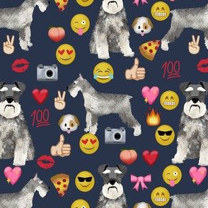 schnauzer emoji dog breed fabric emojis dark