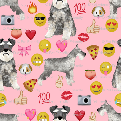 schnauzer emoji dog breed fabric emojis pink
