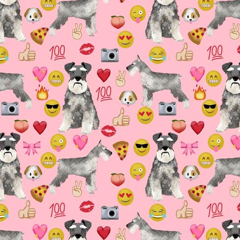 schnauzer emoji dog breed fabric emojis pink fabric by petfriendly on Spoonflower - custom fabric