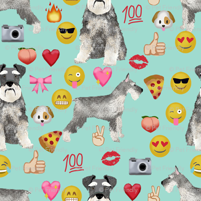 schnauzer emoji dog breed fabric emojis minty