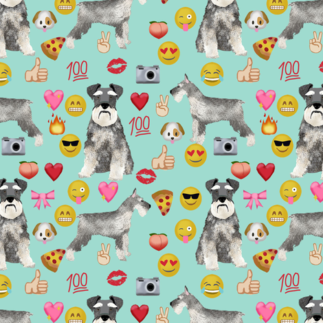 schnauzer emoji dog breed fabric emojis minty fabric by petfriendly on Spoonflower - custom fabric