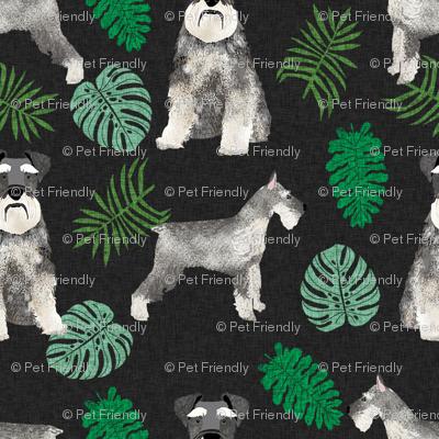 schnauzer monstera dog breed fabric tropical dark