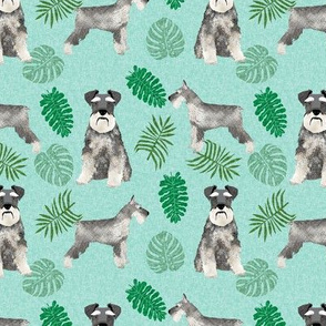 schnauzer monstera dog breed fabric tropical blue green
