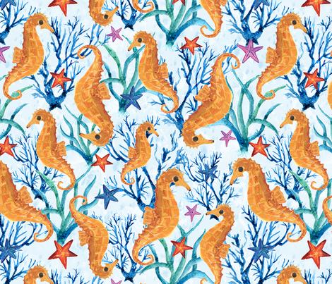 Seahorses fabric by gkumardesign on Spoonflower - custom fabric