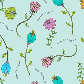 Spring and Summer Flowers on Light Blue