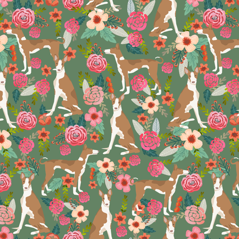 ibizan hound floral pure breed dog fabric green fabric by petfriendly on Spoonflower - custom fabric