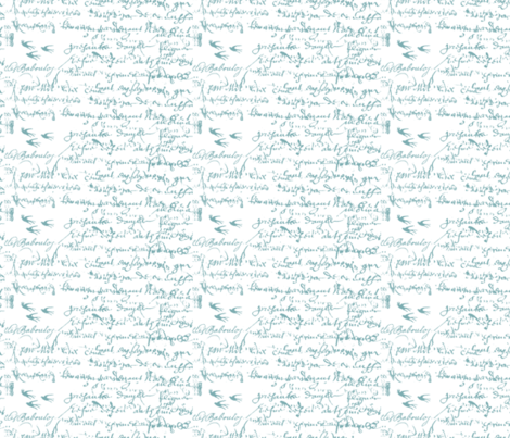 Teal French script on a white background fabric by karenharveycox on Spoonflower - custom fabric
