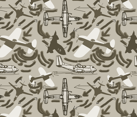 Lots of Planes all brown fabric by lorloves_design on Spoonflower - custom fabric