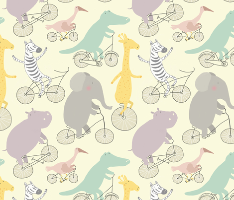 If Jungle Animals Rode Bikes fabric by nadinewestcott on Spoonflower - custom fabric