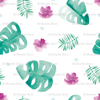 Watercolor palm leaf botanical tropical garden and blossom flowers gender neutral turkoise pink