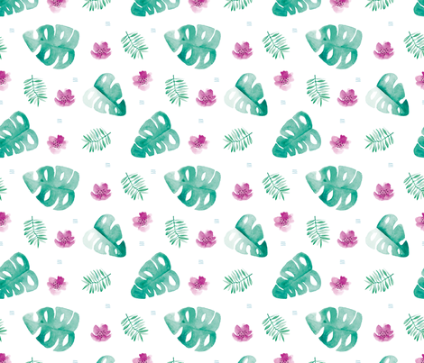 Watercolor palm leaf botanical tropical garden and blossom flowers gender neutral turkoise pink fabric by littlesmilemakers on Spoonflower - custom fabric