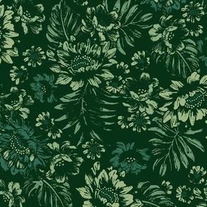 Bonita Floral - Stamped Green