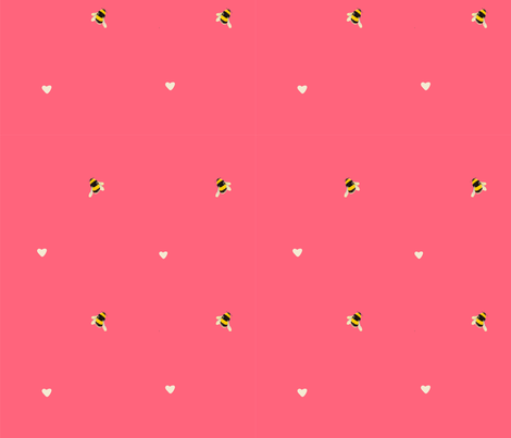 Bee and hearts on rich pink fabric by samantha_woodford on Spoonflower - custom fabric