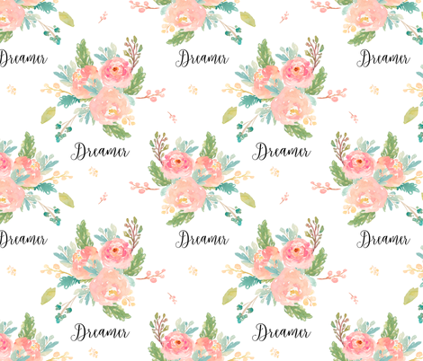 "9"" Dreamer Florals with Quote fabric by shopcabin on Spoonflower - custom fabric"