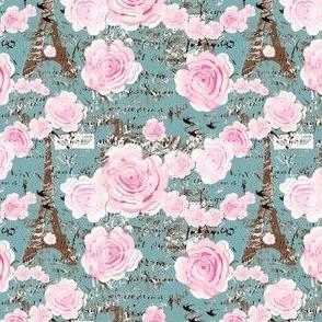 Paris Chic, Rose Garland on Teal