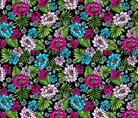 Bonita Floral - Black/Fuchsia fabric by meganpalmer on Spoonflower - custom fabric
