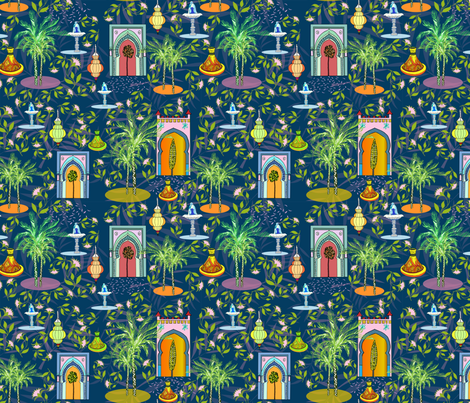 Night in the Medina, by Susanne Mason fabric by susanne_mason_ on Spoonflower - custom fabric