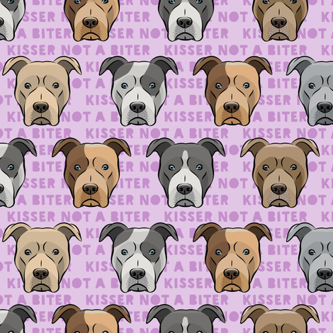 kisser not a biter - pit bulls on purple fabric by littlearrowdesign on Spoonflower - custom fabric