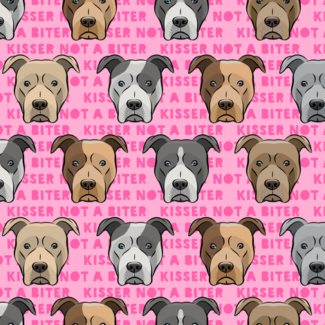 kisser not a biter - pit bulls on pink fabric by littlearrowdesign on Spoonflower - custom fabric