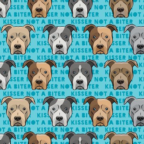 kisser not a biter - pit bulls on dark blue fabric by littlearrowdesign on Spoonflower - custom fabric