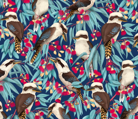 kookaburra_blue_spoon fabric by vildeae on Spoonflower - custom fabric