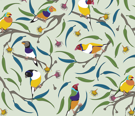 Australian Gouldian (Rainbow) Finches fabric by colour_angel_by_kv on Spoonflower - custom fabric