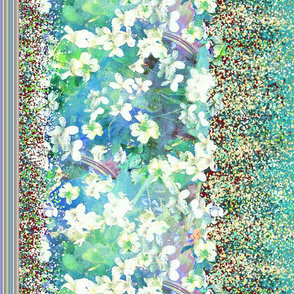 "32"" border custom scale white violets flowers  turquoise aqua"