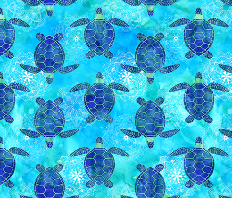 Watercolor Sea Turtles Mandala Blue Green fabric by wickedrefined on Spoonflower - custom fabric