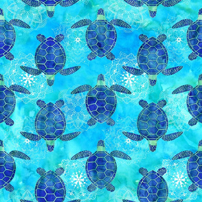 Watercolor Sea Turtles Mandalas Blue Green