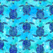 Watercolor Sea Turtles Mandala Blue Green