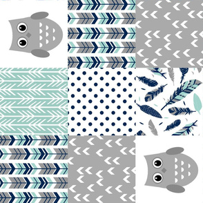 Rotated Mint Grey Owls