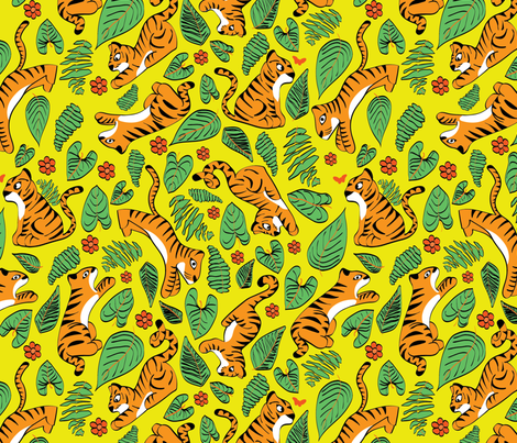 playfull tiger fabric by stargazingseamstress on Spoonflower - custom fabric