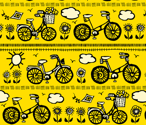 Springtime bike ride fabric by lacy_and_jojo on Spoonflower - custom fabric