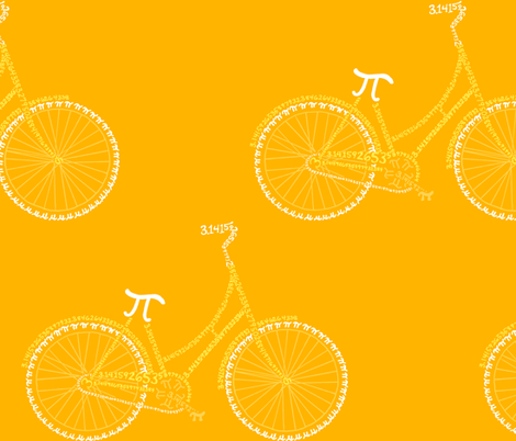Pi-cycle in gold and yellow fabric by weavingmajor on Spoonflower - custom fabric