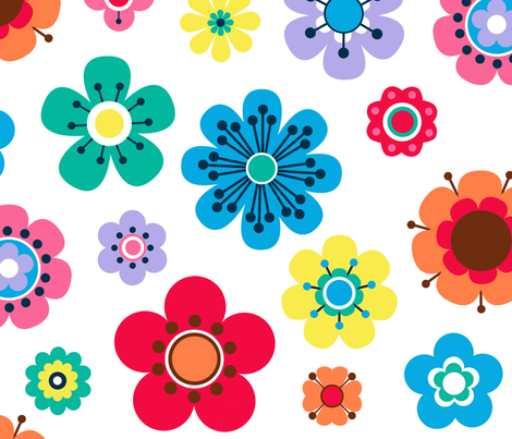 Retro Flowers  fabric by pebbles_patch on Spoonflower - custom fabric