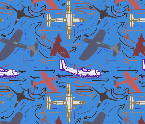 Planes of all kinds ocean fabric by lorloves_design on Spoonflower - custom fabric