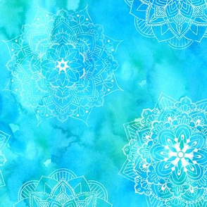 Mandalas on Blue Green Watercolor