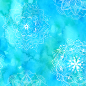 Watercolor Mandalas Blue Green