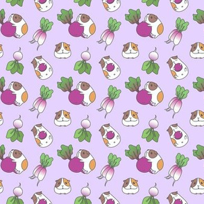 Lavender Guinea pig and radish pattern