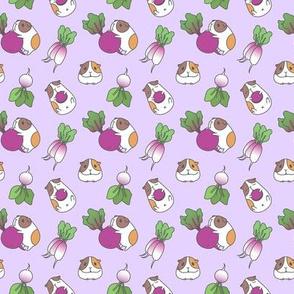Lavender Guinea pig and radish pattern