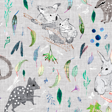 Terrra Australis Marsupials (silver) MEDIUM fabric by nouveau_bohemian on Spoonflower - custom fabric
