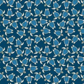 Little Blue Sea Turtles on Blue